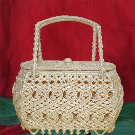 Cream White Exclusive Las Oblong Handbag From Cotton And Silk Thailand